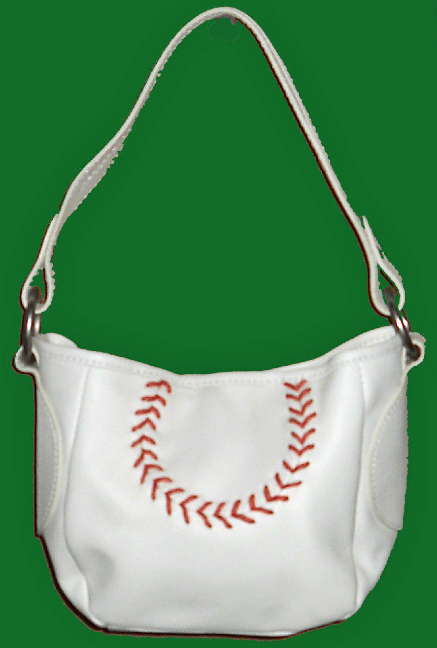 White Leather Small Baseball Handbag Purse<br>ONLY 1 LEFT!