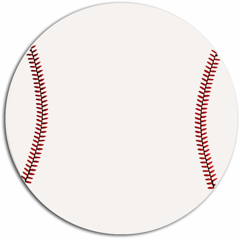 White Round Baseball Mousepad<br>LESS THAN 6 LEFT!