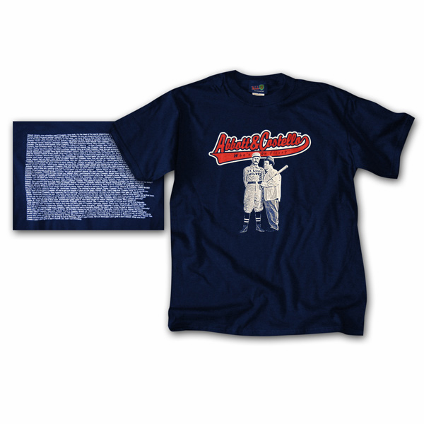Who's on First? Navy Blue Adult T-Shirt<br>Adult S or M