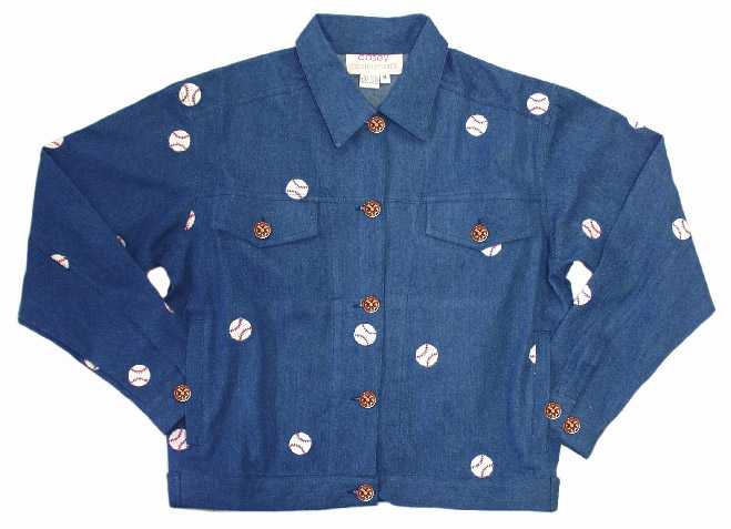 Women's Baseball Women's Small Denim Jacket by Casey Coleman<br>ONLY 1 LEFT!
