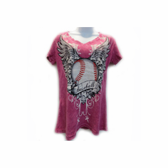 Women's Baseball Rhinestone Decorated Pink Women's Small V-Neck T-Shirt