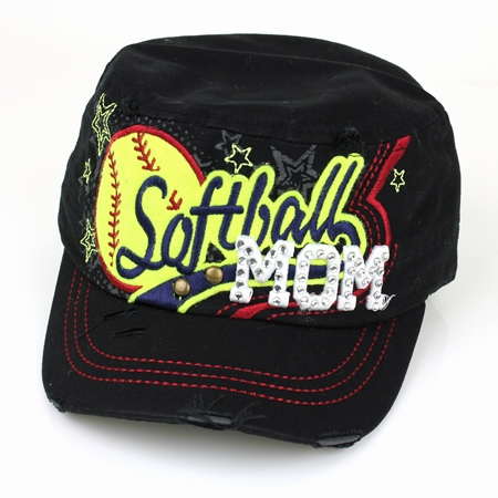 Women's Black Softball Mom Hat