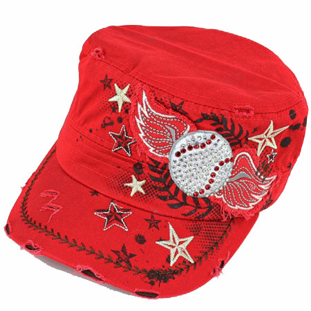Women's Red Vintage Wings Baseball Hat