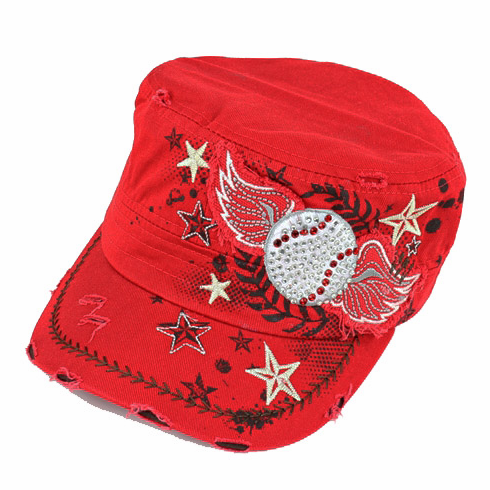 Women's Red Vintage Wings Baseball Hat<br>LESS THAN 2 LEFT!