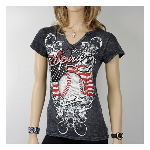 Women's Spirit Baseball Rhinestone Decorated Black V-Neck T-Shirt