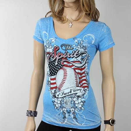 Women's Spirit Baseball Rhinestone Decorated Blue V-Neck T-Shirt
