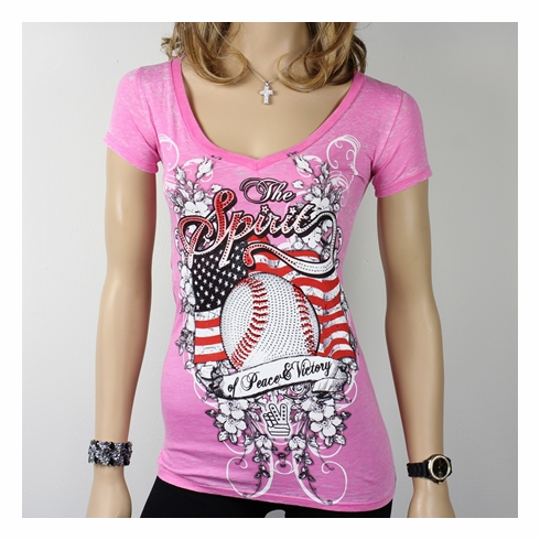 Women's Spirit Baseball Rhinestone Decorated Pink V-Neck XL T-Shirt<br>ONLY 2 LEFT!