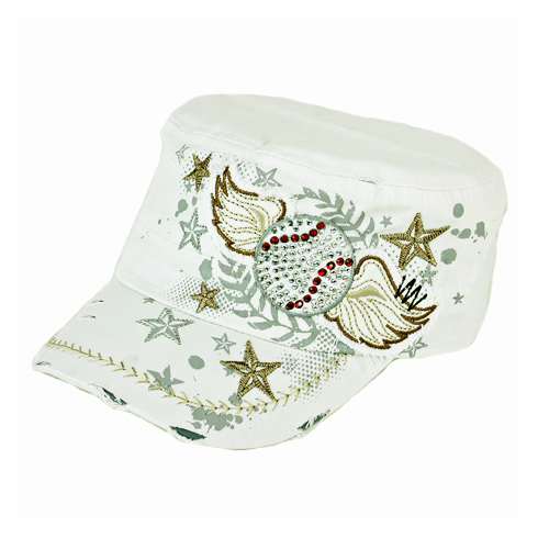 Women's White and Gold Vintage Wings Baseball Hat