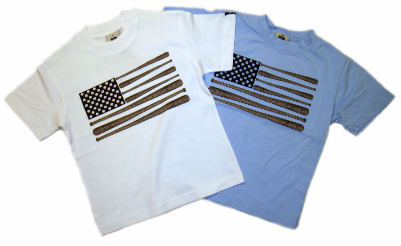 Wood Bat Flag Kids T-Shirts by Dogwood