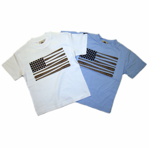 Wood Baseball Bat Flag Kids T-Shirts by Dogwood