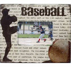 "Wooden Baseball<br>3.5"" x 5"" Photo Frame"