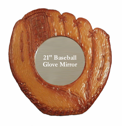 Wooden Baseball Glove Mirror