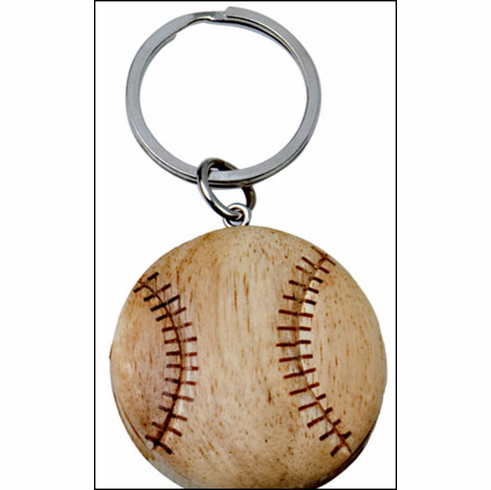 Wooden Baseball Key Chain