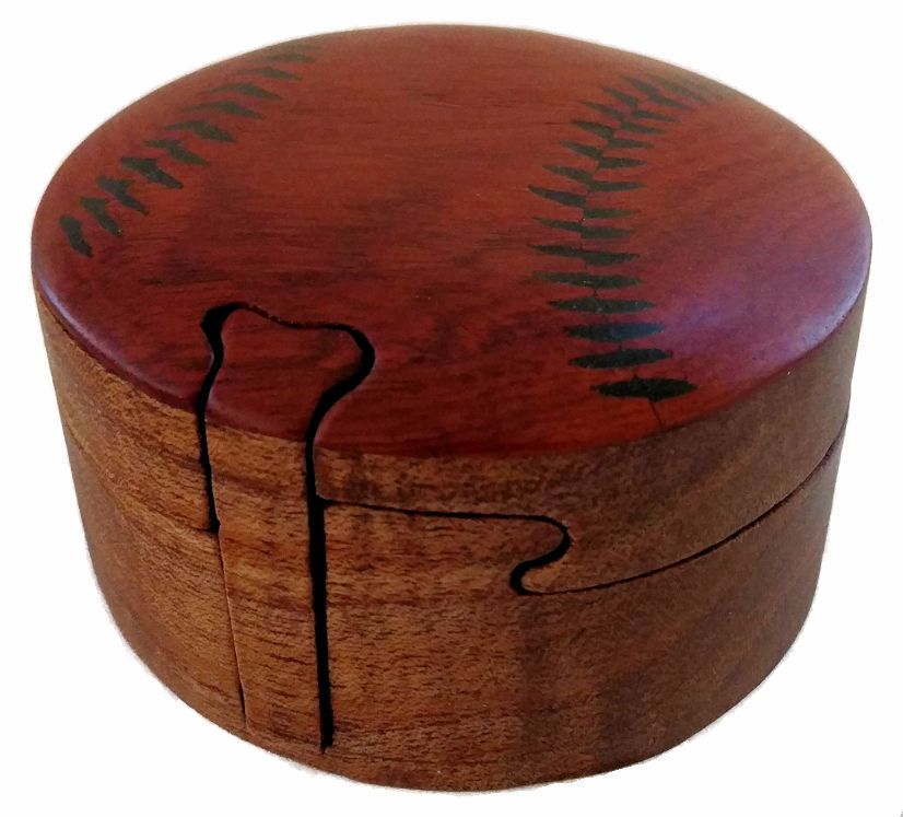 Wooden Baseball Puzzle Box