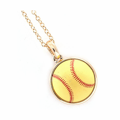 "Yellow Softball 18"" Gold Necklace"