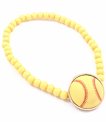 Yellow Softball Yellow Stretchy Bracelet
