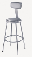 """19""""-27"""" Adjustable Lab Stool with Padded Seat and Backrest - National Public Seating - 6418HB"""