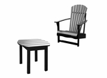 2-Piece Set - Adirondack Chair with Side Table in Black - K-51902-CT-0