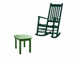 2-Piece Set - Porch Rocker Chair with Side Table in Hunter Green - K-51865-51901-0