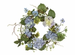 """20"""" Hydrangea Wreath in Blue - Nearly Natural - 4642-BL"""