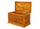"23"" Tropical Thai Flowers Design Wood Storage Chest / Coffee Table in Rich Walnut Gloss - frt1055"
