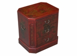 "24"" Antique Style 3-Drawer End Table / Nightstand - Oriental Poem - frc5003"