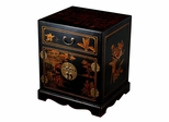 "24"" Antique Style Mandarin Nightstand / End Table in Black Leather - frc5000"