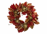 """24"""" Burgundy and Gold Artichoke Wreath - Nearly Natural - 4922"""