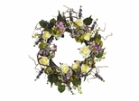 """24"""" Hydrangea Rose Wreath in Mixed - Nearly Natural - 4673"""