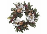 """24"""" Magnolia Pinecone and Berry Wreath - Nearly Natural - 4923"""