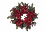 """24"""" Poinsettia and Berry Wreath - Nearly Natural - 4919"""