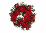"24"" Poinsettia Wreath in Holiday - Nearly Natural - 4660"