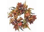 """24"""" Pumpkin and Berry Wreath - Nearly Natural - 4924"""