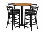 24'' Round Natural Table and 4 Metal Bar Stools with Black Vinyl Seat - HDBF1035-GG