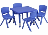 24'' Square Adjustable Blue Plastic Activity Table Set with 4 Chairs - YU-YCX-0023-2-SQR-TBL-BLUE-E-GG