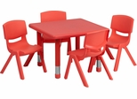 24'' Square Adjustable Red Plastic Activity Table Set with 4 Chairs - YU-YCX-0023-2-SQR-TBL-RED-E-GG