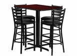 24''W x 42''L Rectangular Mahogany Table Set with 4 Metal Bar Stools - HDBF1018-GG