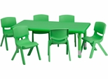 24''W x 48''L Adjustable Green Plastic Activity Table Set - YU-YCX-0013-2-RECT-TBL-GREEN-E-GG