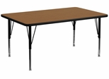 24''W x 48''L Rectangular Activity Table, Oak Thermal Fused Laminate Top & Height Adjustable Pre-School Legs - XU-A2448-REC-OAK-T-P-GG
