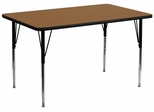 24''W x 48''L Rectangular Activity Table, Oak Thermal Fused Laminate Top & Standard Height Adjustable Legs - XU-A2448-REC-OAK-T-A-GG