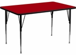 24''W x 48''L Rectangular Activity Table, Red Thermal Fused Laminate Top & Standard Height Adjustable Legs - XU-A2448-REC-RED-T-A-GG