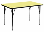 24''W x 48''L Rectangular Activity Table with Yellow Thermal Fused Laminate Top - XU-A2448-REC-YEL-T-A-GG