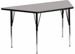 24''W x 48''L Trapezoid Activity Table with Thick Grey Top - XU-A2448-TRAP-GY-H-A-GG
