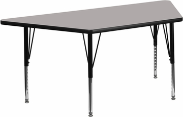 24''W x 48''L Trapezoid Activity Table with Thick Grey Top - XU-A2448-TRAP-GY-H-P-GG