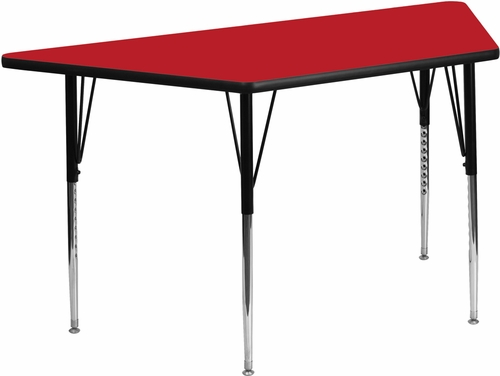 24''W x 48''L Trapezoid Activity Table with Thick Red Top - XU-A2448-TRAP-RED-H-A-GG