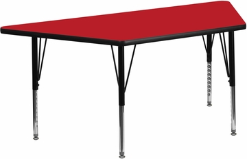 24''W x 48''L Trapezoid Activity Table with Thick Red Top - XU-A2448-TRAP-RED-H-P-GG