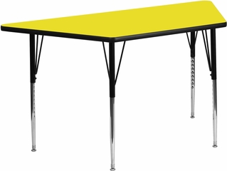 24''W x 48''L Trapezoid Activity Table with Thick Yellow Top - XU-A2448-TRAP-YEL-H-A-GG
