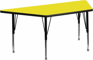 24''W x 48''L Trapezoid Activity Table with Thick Yellow Top - XU-A2448-TRAP-YEL-H-P-GG
