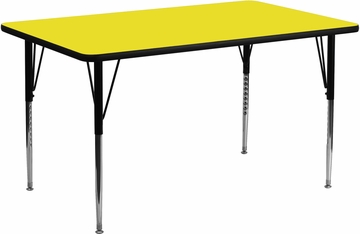 24''W x 60''L Rectangular Activity Table, 1.25'' Thick High Pressure Yellow Laminate Top & Standard Height Adjustable Legs - XU-A2460-REC-YEL-H-A-GG