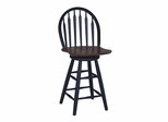 "24"" Windsor Arrowback Swivel Stool in Black / Cherry - S57-612"